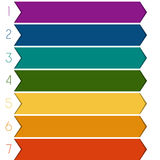 7 colour strips arrows Royalty Free Stock Photography