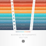 Colour strips infographic numbered nine position Stock Photo