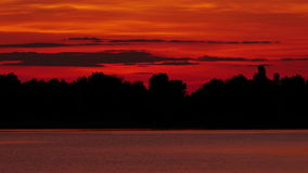 Colour Sunset Over The River stock video footage