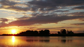 Colour Sunset Over The River stock footage