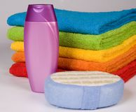 Colour terry towels Royalty Free Stock Image