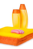 Colour terry towels, shampoo and soap Stock Photo