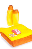 Colour terry towels, shampoo, soap and starfish Royalty Free Stock Photo
