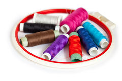 Colour threads and tambour Royalty Free Stock Photos
