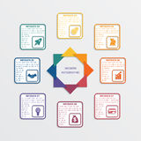 Colour triangles 8 options. Colour triangles modern infographic template for business concept with 8 steps stock illustration