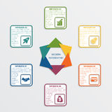 Colour triangles 6 options. Colour triangles modern infographic template for business concept with 6 steps royalty free illustration
