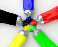 Colour tubes. Black, green, blue, red and yellow color tube paint meet symmetrically Stock Photography