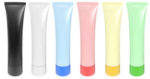 Colour tubes for a cream Royalty Free Stock Photos
