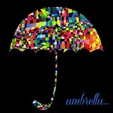 Colour umbrella on the black background. Vector Royalty Free Stock Photography