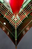 Colour under roof. The colorfull symetric contrast use by a chinese temple roof in taipei Royalty Free Stock Images