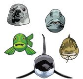 Vector illustration of sea animal Heads royalty free illustration