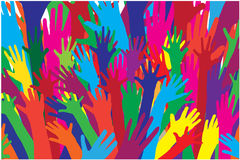 Colour vector silhouettes of hands. Royalty Free Stock Photo