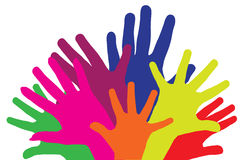 Colour vector silhouettes of hands. Royalty Free Stock Images
