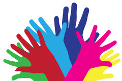 Colour vector silhouettes of hands. Stock Photos
