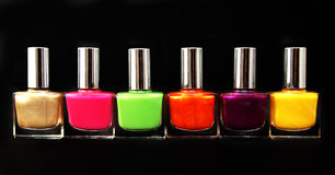Colour vials of nail polish Royalty Free Stock Photos