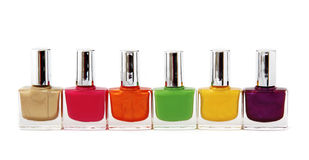 Colour vials of nail polish Stock Images