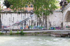 Colour view of Tevere's riverside in Rome Royalty Free Stock Photos