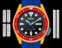 colour watchen för dykare s Vektor Illustrationer