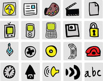 Colour Web Icons. A selection of colour hand drawn vector illustrated icons stock illustration