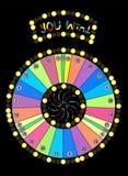 Colour Wheel of Fortune, Game Jackpot on Black Background. Vector Illustration. EPS10 vector illustration