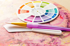Colour Wheel and Painting Accessories Royalty Free Stock Photo