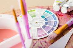 Colour Wheel and Painting Accessories Stock Image