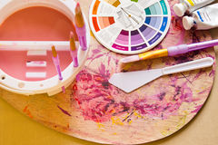 Colour Wheel and Painting Accessories Royalty Free Stock Image