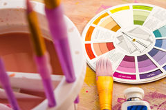 Colour Wheel and Painting Accessories Royalty Free Stock Images