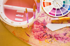 Colour Wheel and Painting Accessories Stock Photos