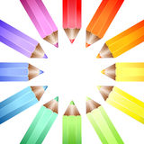 Colour wheel pencils. A circle of coloured pencils forming a colour wheel on a white background Stock Photography