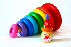 Colour wooden children's pyramid which is lying Royalty Free Stock Photo
