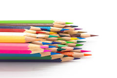 Colour wooden pencil on white Royalty Free Stock Images