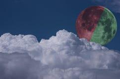 Colourblindness,红色和绿色月亮 免版税库存图片