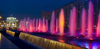 Colourd fountains and Triumphal arch, Moscow Royalty Free Stock Images