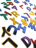Coloured alphabet. A brightly coloured alphabet tilted stock photos