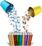 Coloured alphabets poured from buckets to line of books. Colored alphabets poured from buckets to line of books Stock Photos