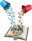 Coloured alphabets poured from buckets to opened book. Colored alphabets poured from buckets to opened book Royalty Free Stock Image