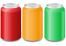 Coloured aluminum cans with soda Stock Image