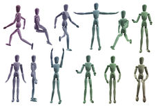 Coloured Artist Mannequin Collection Royalty Free Stock Photos
