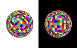 Coloured ball - cdr format. Two coloured balls on white and black background stock illustration