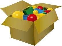 Coloured ball and cube toys in the cardboard box Stock Photo