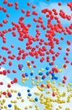 Coloured ballons. In the sky stock photos