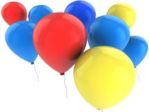 Coloured balloons. Coloured (red, blue, yellow) balloons isolated on white Stock Images