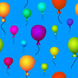 Coloured balloons flying in sky seamless. Coloured balloons flying in blue sky seamless background Stock Photo