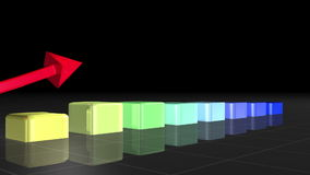 Coloured bar graph appearing stock video footage