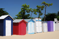 Coloured Beach huts III. Brightly Coloured Beach Boxes on the seafront at St Denis beach (Oléron/France stock photography