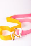 Coloured belts. Closeup of two coloured belts royalty free stock photography