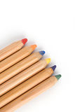 Coloured big pencils with shadow Stock Photography