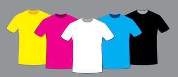 Coloured blank t-shirts template set Stock Images