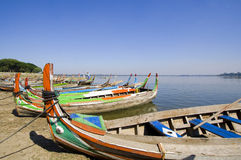 Coloured boats ,Amarapura, Burma Royalty Free Stock Photos